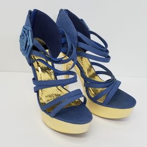 Fahrenheit Womens Shoes. Blue denim